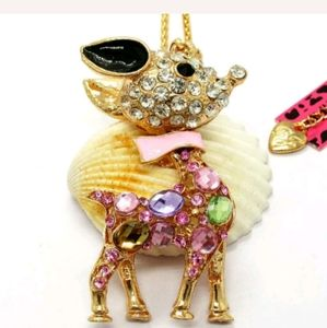 New Betsey Johnson pink reindeer necklace